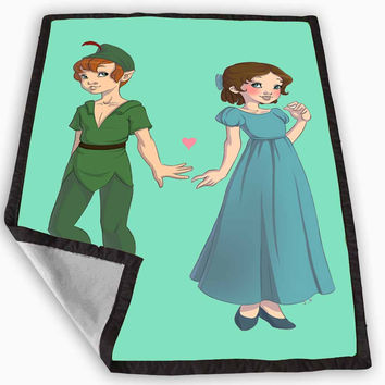Peter Pan and Wendy Blue Teal Blanket for Kids Blanket, Fleece Blanket Cute and Awesome Blanket for your bedding, Blanket fleece **