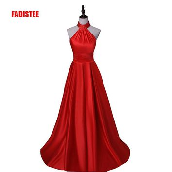 New arrival  Long Evening Dresses Beaded halter Floor Length Prom Dresses Vestido De Festa backless dress style