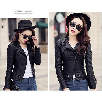 High Quality Faux Leather Jacket Women 2017 PU Leather Coat Women Short Slim Motorcycle Leather Clothing Female Outerwear