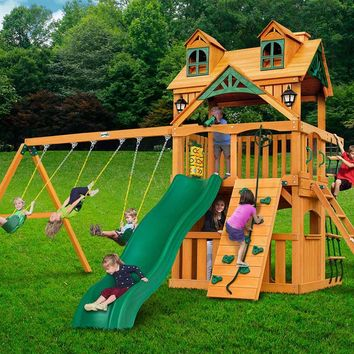 Gorilla Playsets Malibu Clubhouse Wooden Swing Set