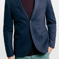 Men's Topman Navy Jersey Slim Fit Blazer