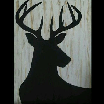 Buck Art, Reindeer Art, Woodland art, Deer Home Decor, Hunting Decor, Cabin Decor, Distressed Wood Art, Hand Painted, Rustic Wood