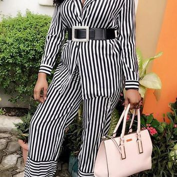 New Black-White Striped Single Breasted Two Piece Long Sleeve Casual High Waisted Wide Leg Palazzo Long Jumpsuit