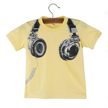 Boy Kids Summer Casual Headphone Short Sleeve T Shirt