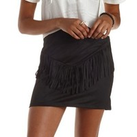 Black Faux Suede Fringe Mini Skirt by re:named at Charlotte Russe