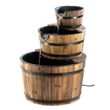 Outdoor Garden 3-Tier Half Barrel Water Fountain