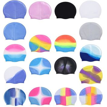 Hot Multi-Color Adult Silicone Swimming Cap Particles Anti-Static Hair Protect Hair Sports Swim Pool Stretchable Hats New