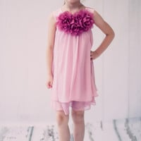Dusty Rose Chiffon Shift Dress with 2 Tier Hem & Floral Mesh Neckline (Girls 2T - Size 14)