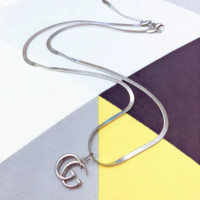 GUCCI New Fashion Simple Letter Pendant Necklace Women Accessories Silver