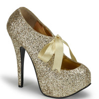 Bordello Gold Glitter Stiletto Platforms