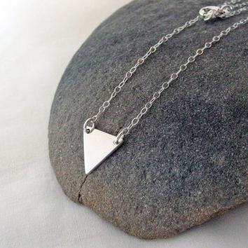 Triangle Necklace, 925 Sterling Silver, Geometric Necklace, Triangle Pendant, Layering Necklace, Dainty Thin Chain, Gift Under 25