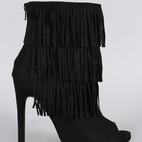 Delicious Suede Triple Layered Fringe Peep Toe Stiletto Booties