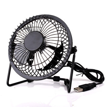 Mini USB Metal Quiet Leaf Iron Fan [6513411655]