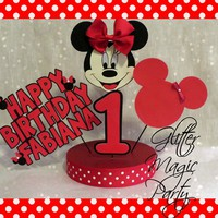 Minnie Mouse Centerpiece - Minnie Mouse Inspired Party - Red Minnie Mouse - Minnie Mouse Party Decoration - Personalized with Name and Age