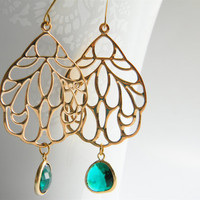 Gold Filigree Pendant Dangle Earrings with Emerald Green Faceted Glass Drops