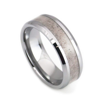 Deer antler tungsten wedding band
