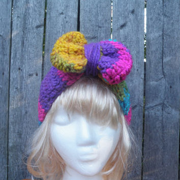 Chunky rainbow ear cuff with bow, rainbow ear muff