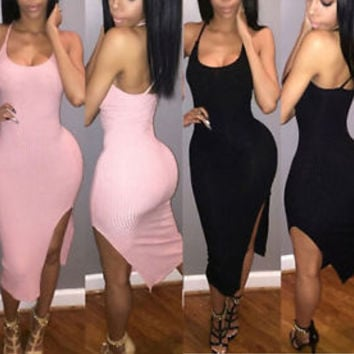 Women Sexy Sleeveless Bandage Club Party Bodycon Jumpsuit Long Trousers Playsuit