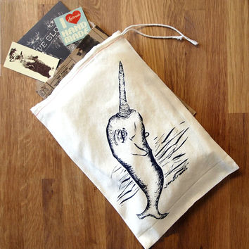 "GIFT BAG - 8 x11"" NARWHAL - Cotton Eco Reusable Drawstring Cloth Handprinted Bag"