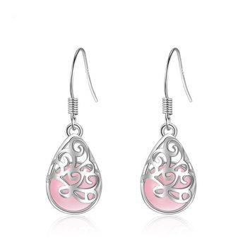 Pink Simulated Cat's Eye Stone 925 Sterling Silver Earrings Studs Women Jewelry