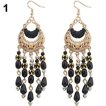 Women's Crescent Moon Boho Style Ear Drops Dangles Tassel Earrings Jewelry