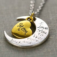 I Love You Mother Mom, Aunt, Father, Daughter, Sister & Brother Gift Engraved Letter Pendant