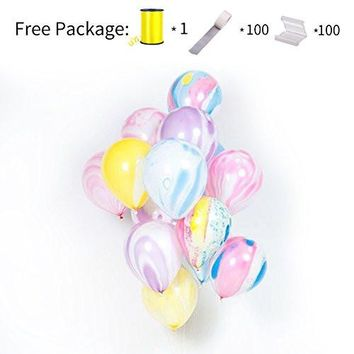 PuTwo Balloons 30 Packs 12 Inch Marble Unicorn Balloons for Wedding Decoration Birthday Party Anniversary Bachelorette Party - Multicolour