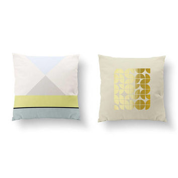 SET of 2 Pillows, Geometric Pattern, Bed Pillow, Throw Pillow, Cushion Cover, Mid Century, Geometric Pillow, Gold Pillow, Abstract Pillow