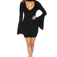 Bell Sleeve Front Keyhole Body-con Dress