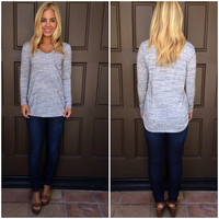 Going Grey V-Neck Top - LIGHT GREY