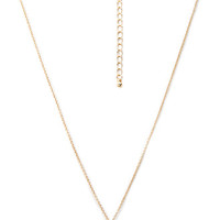 FOREVER 21 Rhinestoned Bead Pendant Necklace Peach/Gold One