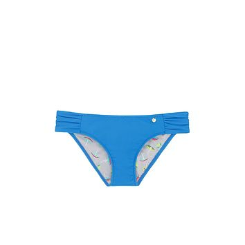 Cocoa Ruched Sides Bikini Bottom - Electric Waters Blue