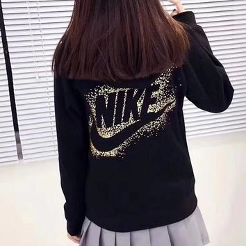 """NIKE"" Gold Logo Women Zip-Up Hoodie Jacket Sweater Sweatshirts"