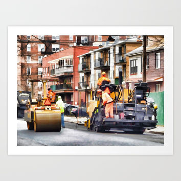 Road roller and asphalt paving machine Art Print by lanjee