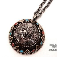 Tibetan style round copper pendant necklace