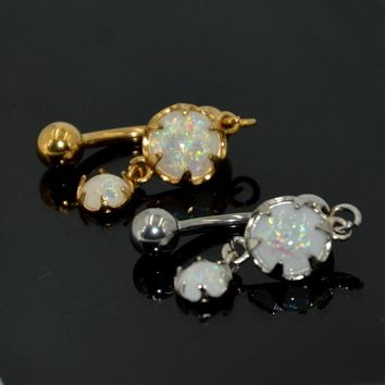 1Pc Prong set Fire Snow Opal Gold Reversed Navel Belly Button Ring With Double White Opal Dangle Body Piercing Jewelry