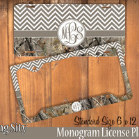 Brown Camo Chevron Monogram License Plate Frame Holder Metal Wall Sign Tags Personalized Custom Vanity Country Girl