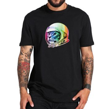 Astronaut Cat T-shirt Funny Rainbow Color Cotton T shirt Homme Cool Pet Anime Hipster Camiseta Standard US Size