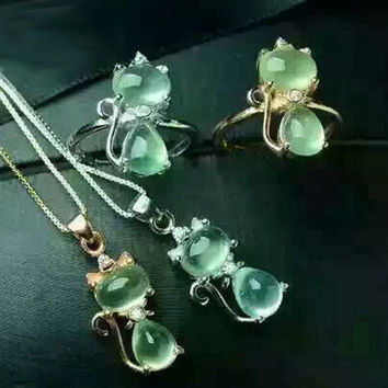 Haleigha Genuine Green Prehnite 6*8mm 925 Sterling Silver White/Rose Cute Cat Ring/Necklace Fashion Girls Jewelry Set for Her
