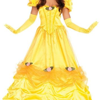 Storybook Romance Yellow Satin Short Puff Sleeve V Neck Ruched Glitter Tulle Ball Gown Maxi Dress Halloween Costume