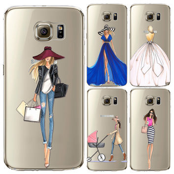 Modern Fashion Shopping Girls Patterns Soft TPU Back Cases Cover for Samsung Galaxy S6 S6 edge S6 edge plus Phone Cases fundas