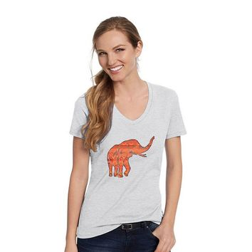 Hanes Ash Grey V Neck Shirt With An African Elephant With Orange Aztec Design