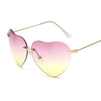 2016 Fashion Vintage Women Sunglasses Heart Shape Glasses Metal Frame Eyeglasses UV400 Reflective Sunglasses Multi-color Frames