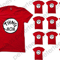 Funny Shirt Thing 1 Thing 2 Shirt Halloween Shirt Christmas Costume Thing Shirt Logo Red Unisex T-Shirt Tee Size S,M,L,XL (TH-3)