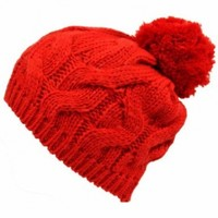 Luxury Divas Red Twisted Cable Knit Winter Pom-Pom Beanie Hat