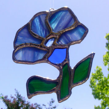 Stained Glass Sun Catcher Blue Stemmed Flower