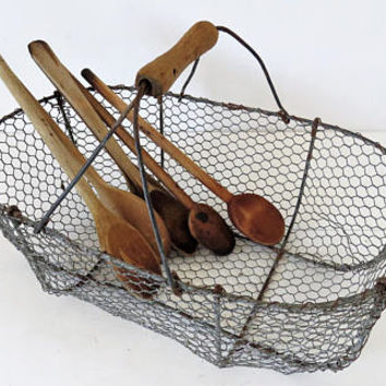 Vintage French, Wire, Collecting, Oyster, Basket