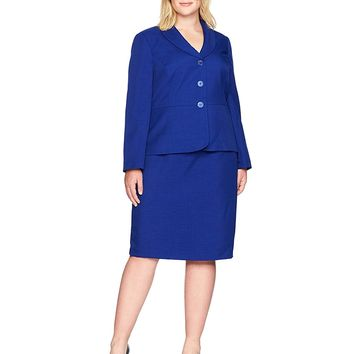 Le Suit Women's Plus Size Glazed Melange 3 Button Skirt Suit