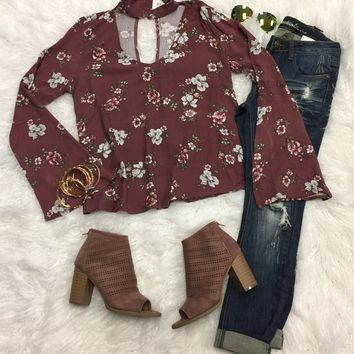 A Day with the Girls Floral Top: Rose