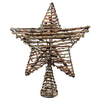 "11.5"" Natural Brown Rattan Star Christmas Tree Topper Clear Lights"
